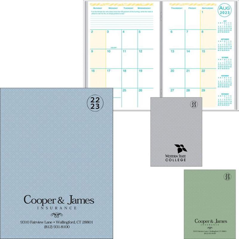 Academic Desk Monthly Planner w/ Printed Weave Cover 2019-2020