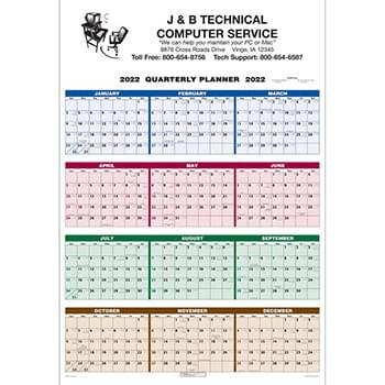 Single Sheet Wall Calendar - 4-Color Quarterly Full Year View