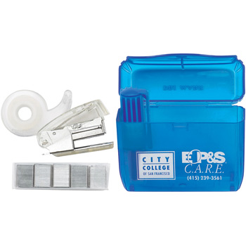 Office On The Go Mini Desk Set w/ Translucent Blue Case