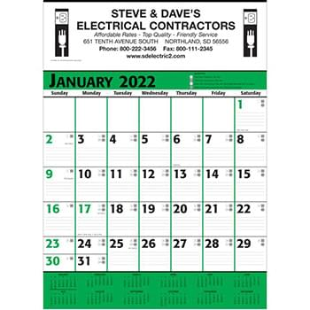 Commercial Planner Wall Calendar - Green & Black
