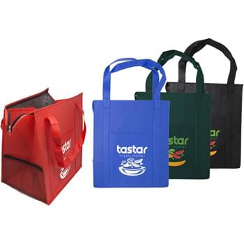 Dimpled Non-Woven Insulated Zipper Grocery Tote