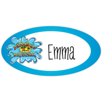 "Budget Name Badge (Standard Size 1-1/2"" x 3"" oval)"
