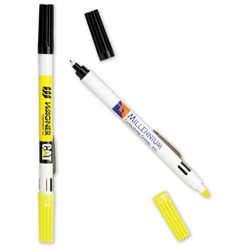 Dri Mark Double Header Nylon Point Pen & Highlighter w/ White Body
