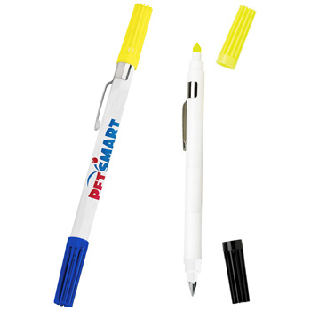 Dri Mark Double Exposure Highlighter & Ballpoint Pen Combo w/ White Body