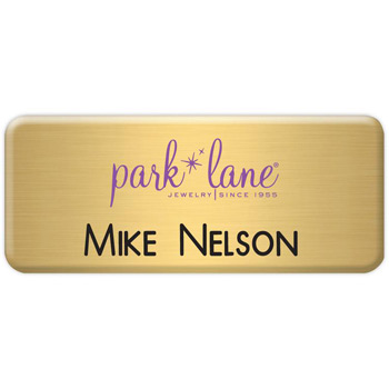New York Custom Metal Name Badge (Custom sized between 3 and 6 sq. in.)