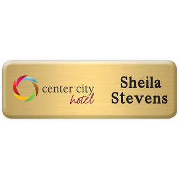 "New York Standard Metal Name Badge (Standard Size 1"" x 3"")"