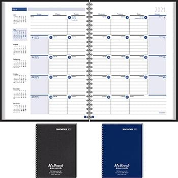 Ruled Monthly Format Wired to 2-Piece Cover Desk Planner 2020