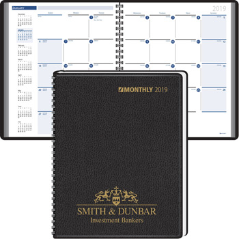 2019 Monthly, Extra Large Calendar Blocks, Wired to Cover Desk Planner - 2017