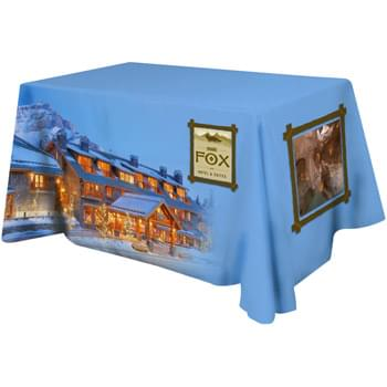 All Over Dye Sub Table Cover - flat poly 3-sided, fits 4' table